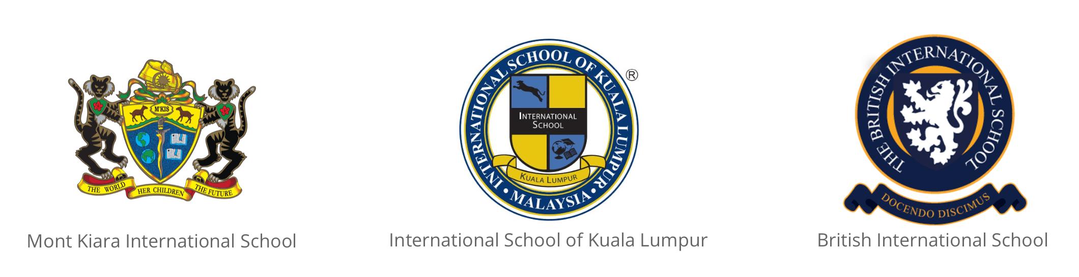 International schools  logos from Mont Kiara International School, International School of Kuala Lumpur and British International School