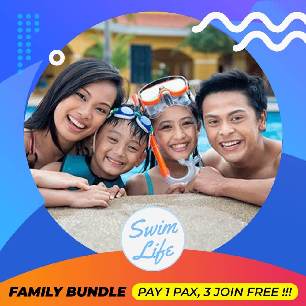 Family with parents and children in swimming pool